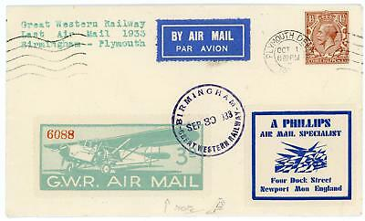 GB 1933 11/2d on GWR Last Air Mail Flight Cover Birmingham to Plymouth