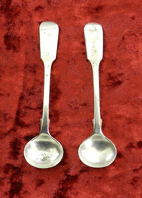 2 x Antique Kay & Co Electroplate Fiddle Back Mustard Spoons 1912
