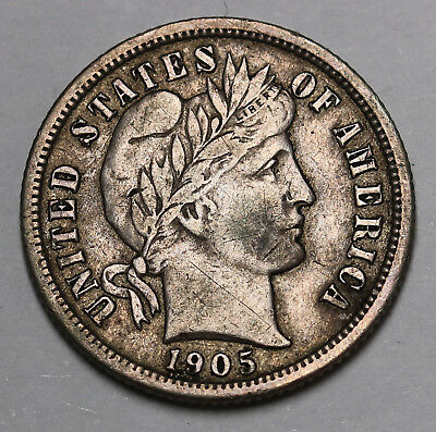 1905 S US Barber Dime 90% Silver Coin KM# 113
