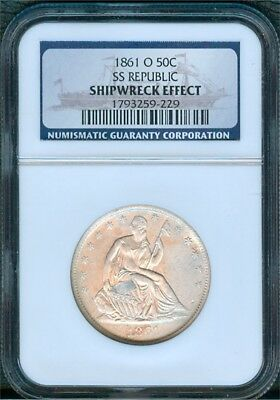 1861-O Seated 1/2 Dollar from Wreck of SS Republic, NGC Shipwreck Effect