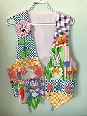 Vintage Easter Vest Eggs Bunny Bright & Cheery Carrot Flowers Spring Rabbit Lady