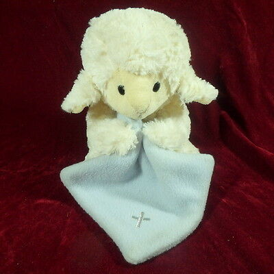Nat and Jules Lamb Plush with blue Blanket Embroidered Cross