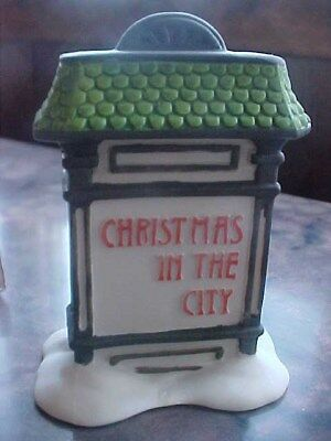 Dept. 56 Porcelain 5960-9 Accessory Christmas In The City Village Sign NEW CIC