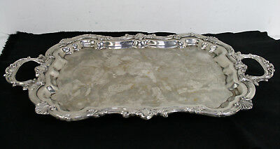 Vintage Silver Plated Footed Handle Ornate Design Serving Tray