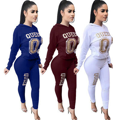 "2pcs Women Hooded Long Sleeve Bronzing ""Queen"" Jumpsuit Rompers Casual Clubwear"