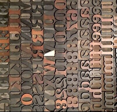 Antique Letterpress Printing Wood Type 200+ Pieces 48pt. Numbers, Punctuations