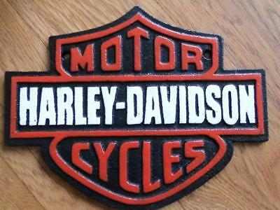Heavy Cast Iron Wall Plaque Advertising Sign *motor Cycles Harley * Davidson Fab