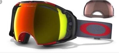 Oakley Ski Snowboard Goggles Airbrake XL Grey And Red With Fire Iridium Lenses