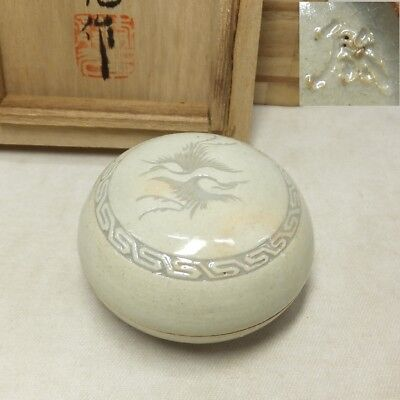 D954: Real Korean pottery incense case by great Lee, Eun-Koo with signed box