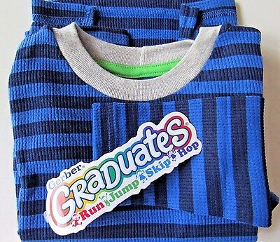 New Gerber Graduates Toddler Boy Blue Striped Long Sleeve Shirt 24M