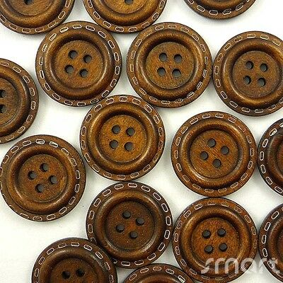 10pcs Brown Wood Round Buttons Lot 4 Holes Cards DIY Craft Sewing