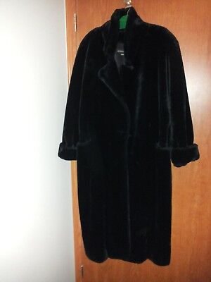 NEW! Faux Black Mink Teddy Swing Coat L/XL Quality Made in USA/Long & Very Warm