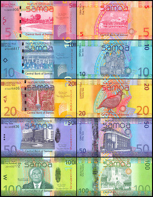 Samoa 5 - 100 Tala 5 Pieces (PCS) Full Set, 2017, P-38-43, UNC