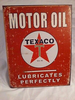 "Texaco Motor Oil Lubricates Perfectly Distressed Vintage Style Sign 16"" x 12.25"""