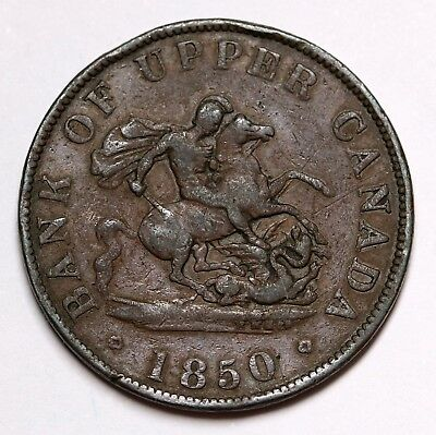 1850 Bank of Upper Canada Halfpenny Token George & The Dragon