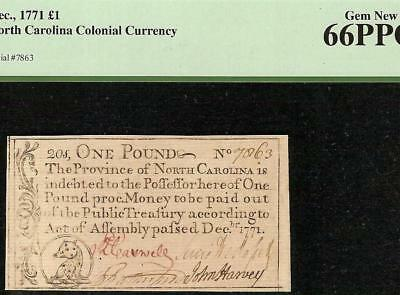 Gem 1771 Colonial Currency Little Bear Ursa Minor North Carolina Note Pcgs 66