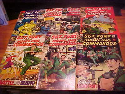Sgt.Fury, lot of 7 issues from 1968:50,51,53-55,57,58, FREE SHIP