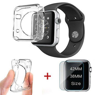 Apple Watch Series 1/2/3/4 Tempered Glass Screen Protector+Soft TPU Case 38-44mm