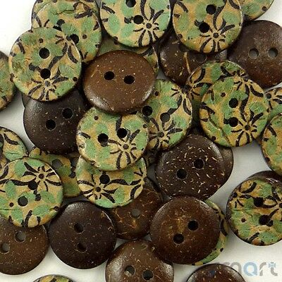 20pcs Dark Brown Wood Round Buttons Lot 2 Holes Craft Sewing Cards DIY 15mm