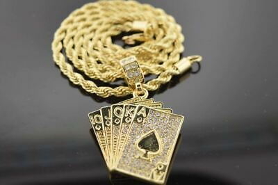 14k Gold Plated Hip Hop Iced out CZ Deck of Cards Charm With Rope Chain Necklace