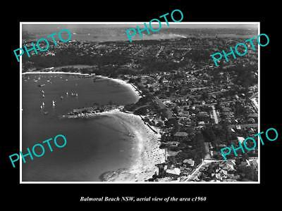 OLD LARGE HISTORIC PHOTO OF BALMORAL BEACH NSW, AERIAL VIEW OF THE BEACH c1960