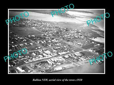 OLD LARGE HISTORIC PHOTO OF BALLINA NSW, AERIAL VIEW OF THE TOWN c1920 3