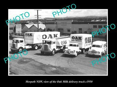 OLD LARGE HISTORIC PHOTO OF MORPETH NSW, THE OAK DAIRY MILK TRUCK c1950