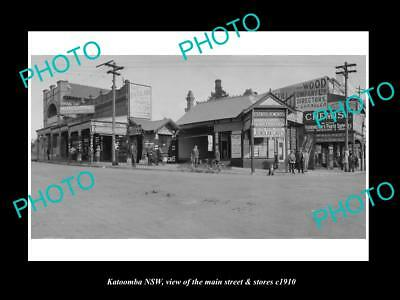 OLD LARGE HISTORIC PHOTO OF KATOOMBA NSW, VIEW OF THE MAIN St & STORES c1910 2