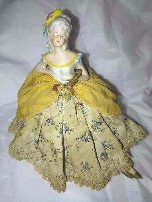 Antique Pin Cushion Porcelain Half Doll Legs Pretty As Is