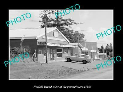 OLD LARGE HISTORIC PHOTO OF THE NORFOLK ISLAND GENERAL STORE c1960