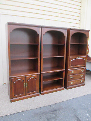 58691 THOMASVILLE Cherry 3 Section Bookcase Cabinet Curio s 1 with Desk