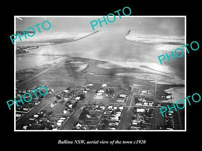 OLD LARGE HISTORIC PHOTO OF BALLINA NSW, AERIAL VIEW OF THE TOWN c1920 1