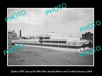 OLD LARGE HISTORIC PHOTO OF SYDNEY NSW, THE BLUE BOW CORDIAL FACTORY c1940
