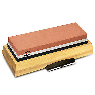Sharpening Stone 3000 & 8000 Grit - Double Sided Whetstone Set For Knives W T4N5