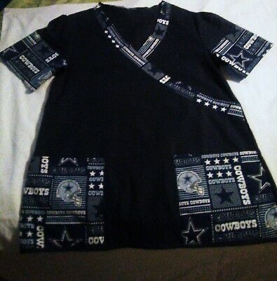 Custom Made Dallas Cowboys Women's Scrub Top. Sizes S-L Available.