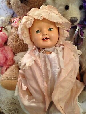 "Effanbee Lovums c1930's Baby Doll - Composite And Cloth -18"" - Sleepy-eyes"