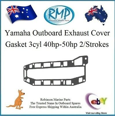 A New Yamaha Exhaust Cover Gasket 40hp-thru-50hp 3cyl 1984-2018 # R 6H4-41114-00