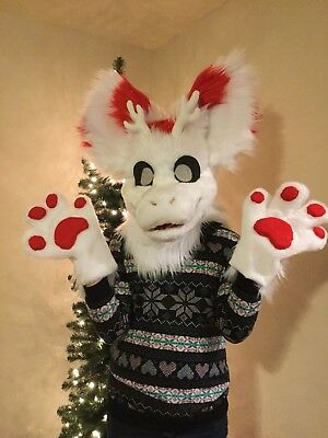 Fursuit Candy Cane Dutch Angel Dragon Head Cosplay Costume Christmas Partial