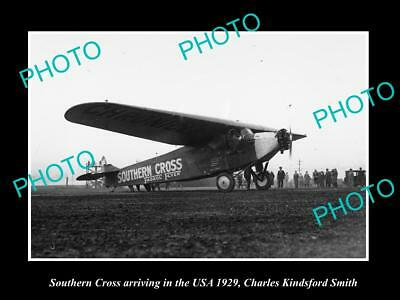 Old Historic Aviation Photo, Kingsford Smith & Southern Cross In The Usa 1929 1