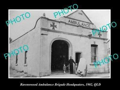 OLD LARGE HISTORIC PHOTO OF RAVENSWOOD QUEENSLAND, THE AMBULANCE STATION c1902
