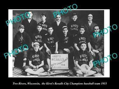 OLD HISTORIC PHOTO OF TWO RIVERS WISCONSIN, KIRST REXALL BASEBALL TEAM c1915