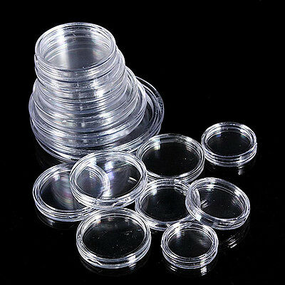 CO_ 10 Boxed Coin Capsules Coin Case Transparent Available 18mm to 50mm Novelty