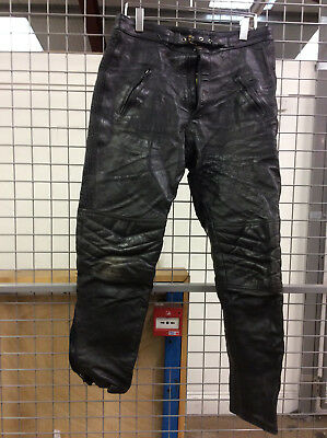 Buffalo Motorcycle Leather Trousers Size 34W 30L USED Needs Attention (HC)