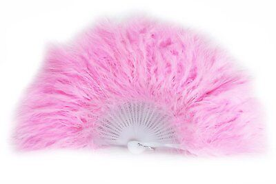 Handheld Large Feather Fan Solid Colour Photoshoot Dance Fancy Dress Soft Pink