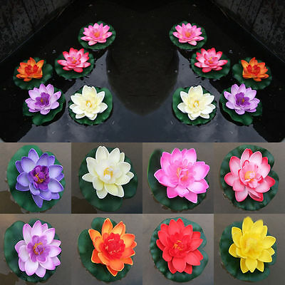 CO_ Man-made Water Floating Flower Lotus Home Yard Pond Fish Tank Decor 10cm Dre