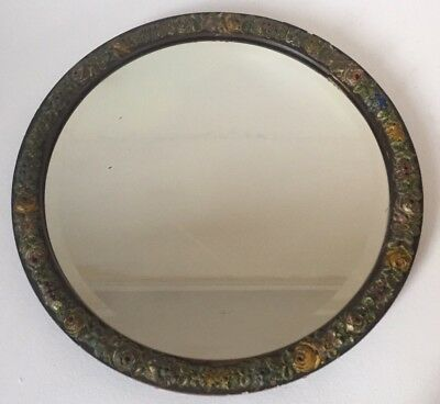 Vintage / Large Barbola Bevelled 1940s / 1950s Circle Mirror Art Deco