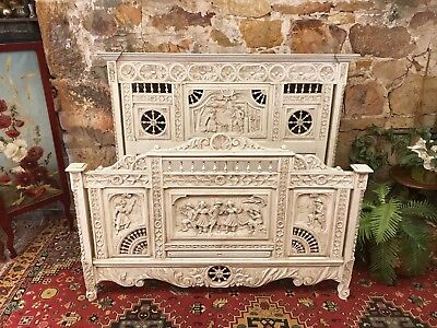 Antique French Louis Double Size Bed~Beautiful Carved Timber~Brittany~c.1890
