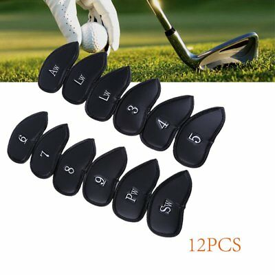 12PCS Thick PU Leather Head Covers Golf Iron Club Putter Headcovers Set Black AY