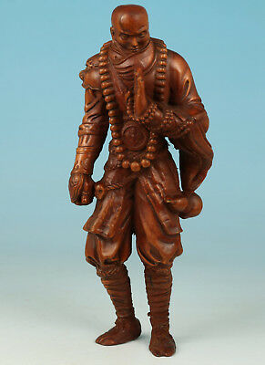Chinese Old Boxwood Collection Handmade Carved Warrior Soldier Statue