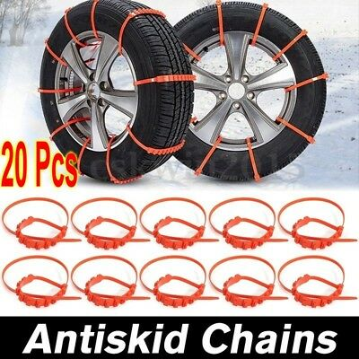 20 PCS Snow Tire Chain for Car Truck SUV Anti-Skid Emergency Winter Driving